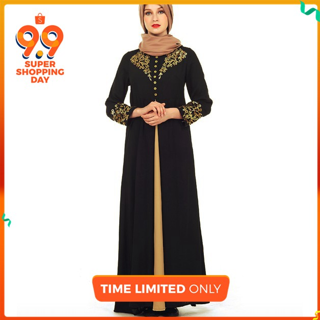 d6ec5af56e6 Abaya Casual Muslim Maxi Dress Print Cotton Loose Style Long Robe Moroccan
