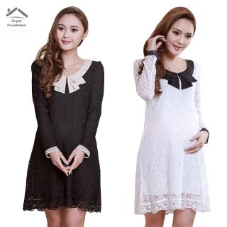 Woman Doll Collar Long Sleeve Loose Dress Slim Thin Lace Dresses