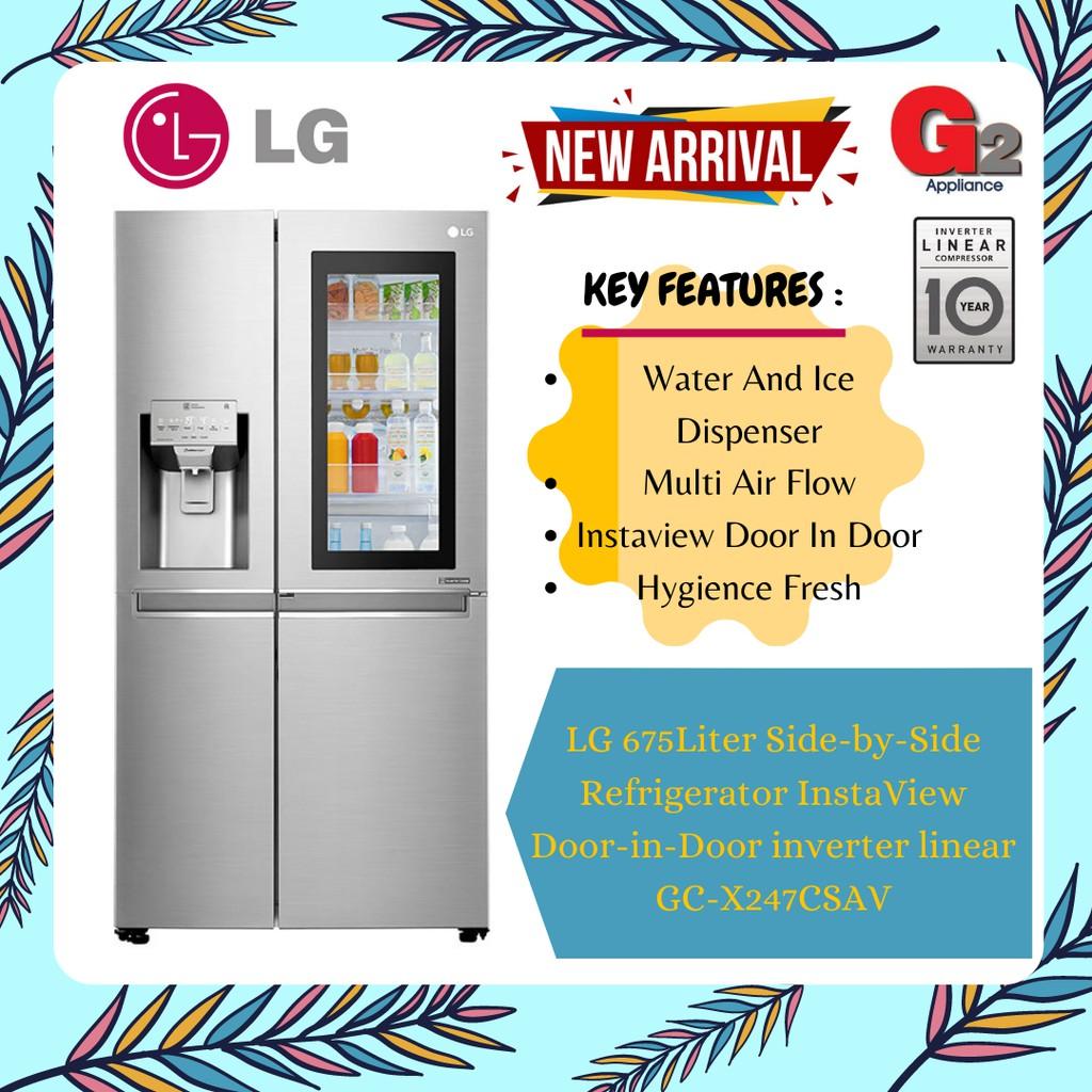 LG 675Liter Side-by-Side Refrigerator InstaView Door-in-Door inverter linear GC-X247CSAV