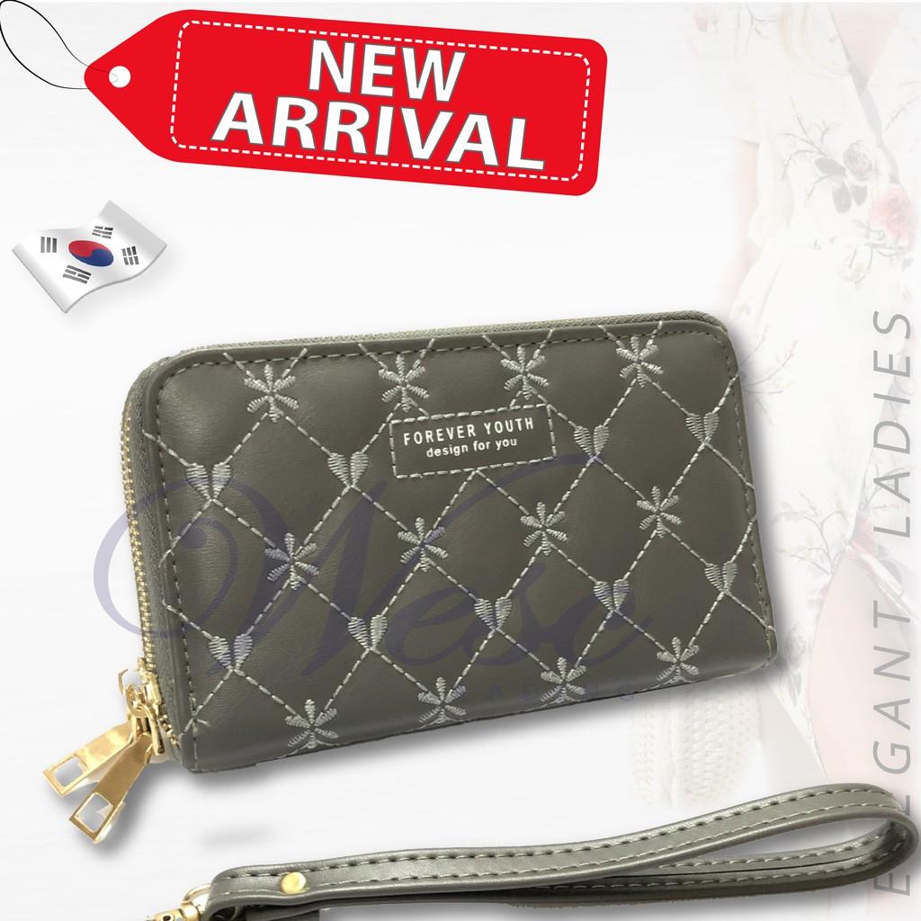 Korean Designer Trendy ALL-NEW 2-in-1 Long Zipper Purse / Women Wallet / Women Clutch / Purse (Grey)