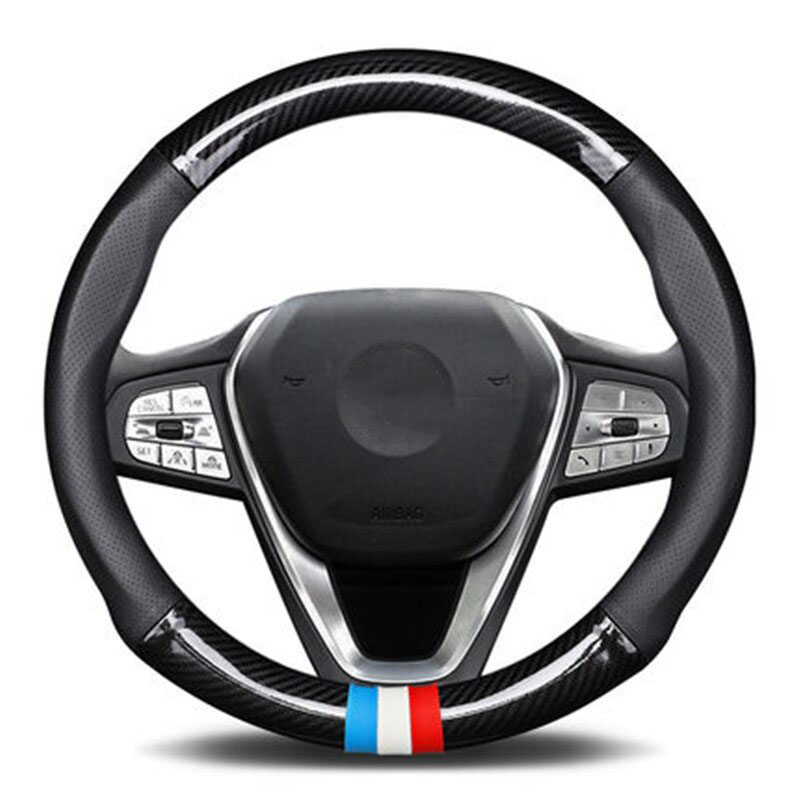 Perodua Carbon Fiber Leather Steering Cover Penutup Stereng Fit Myvi Alza Bezza Axia Aruz
