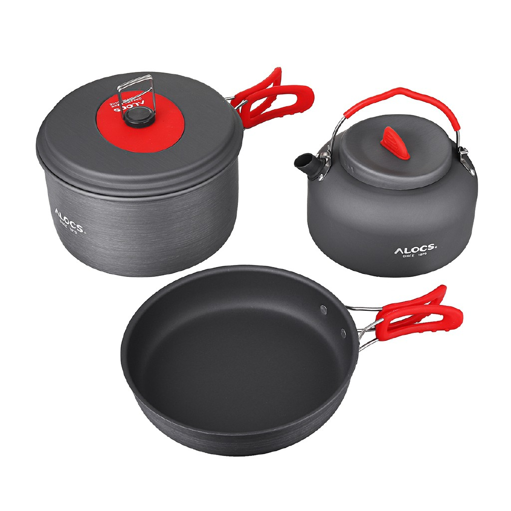 Dailystore 3-4 Person Cooking Pot Camping Hiking Outdoor Cookware Picnic Frying Pan Kettle