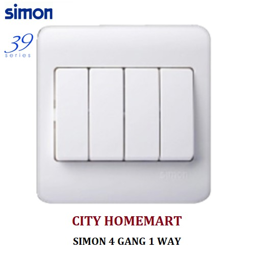 SIMON 4 GANG 1 WAY 39SERIES SWITCHES (WHITE) on
