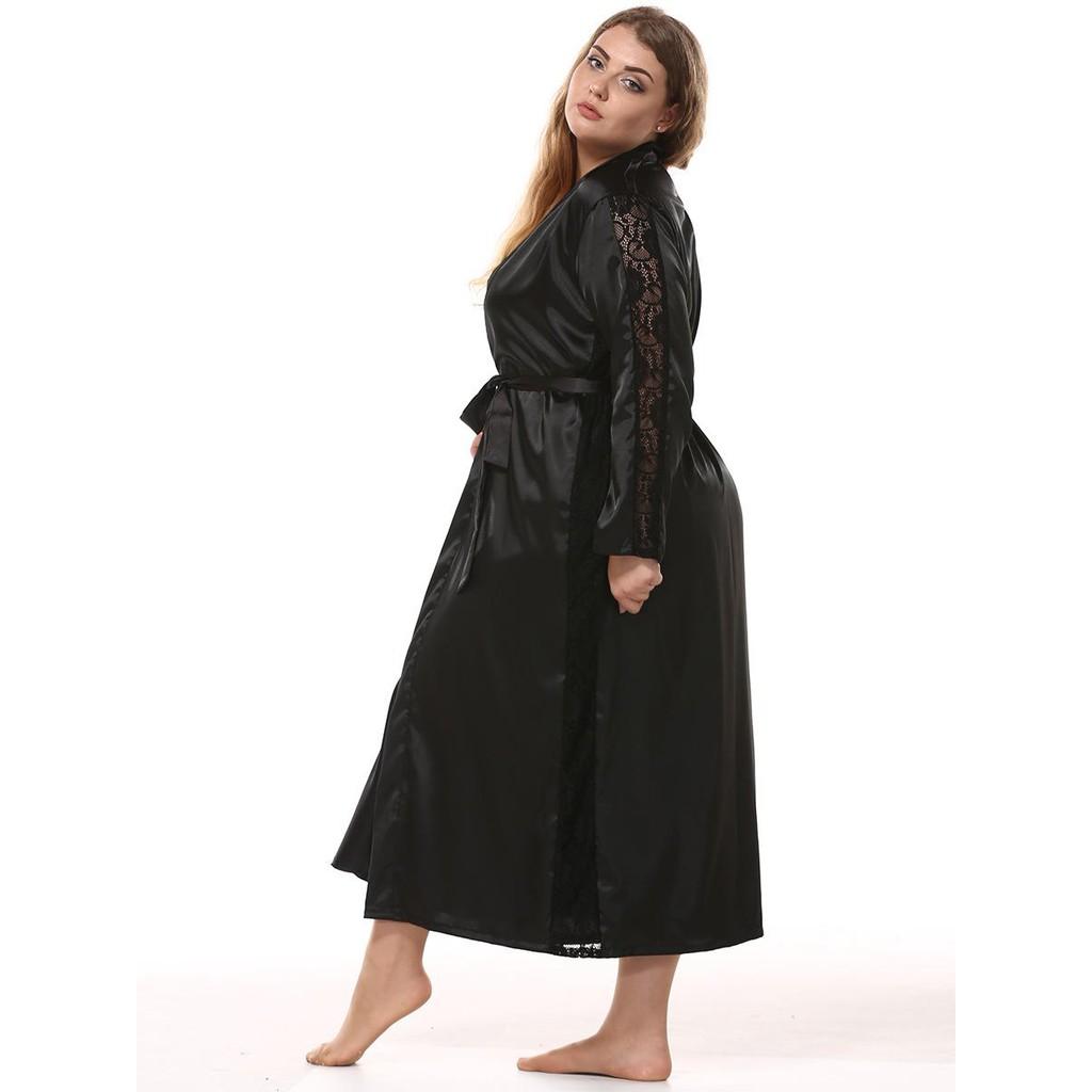 catch various design exceptional range of styles Plus Size Pajamas Long Sleeve Silk Satin Long Maxi Robe Sleepwear for Women
