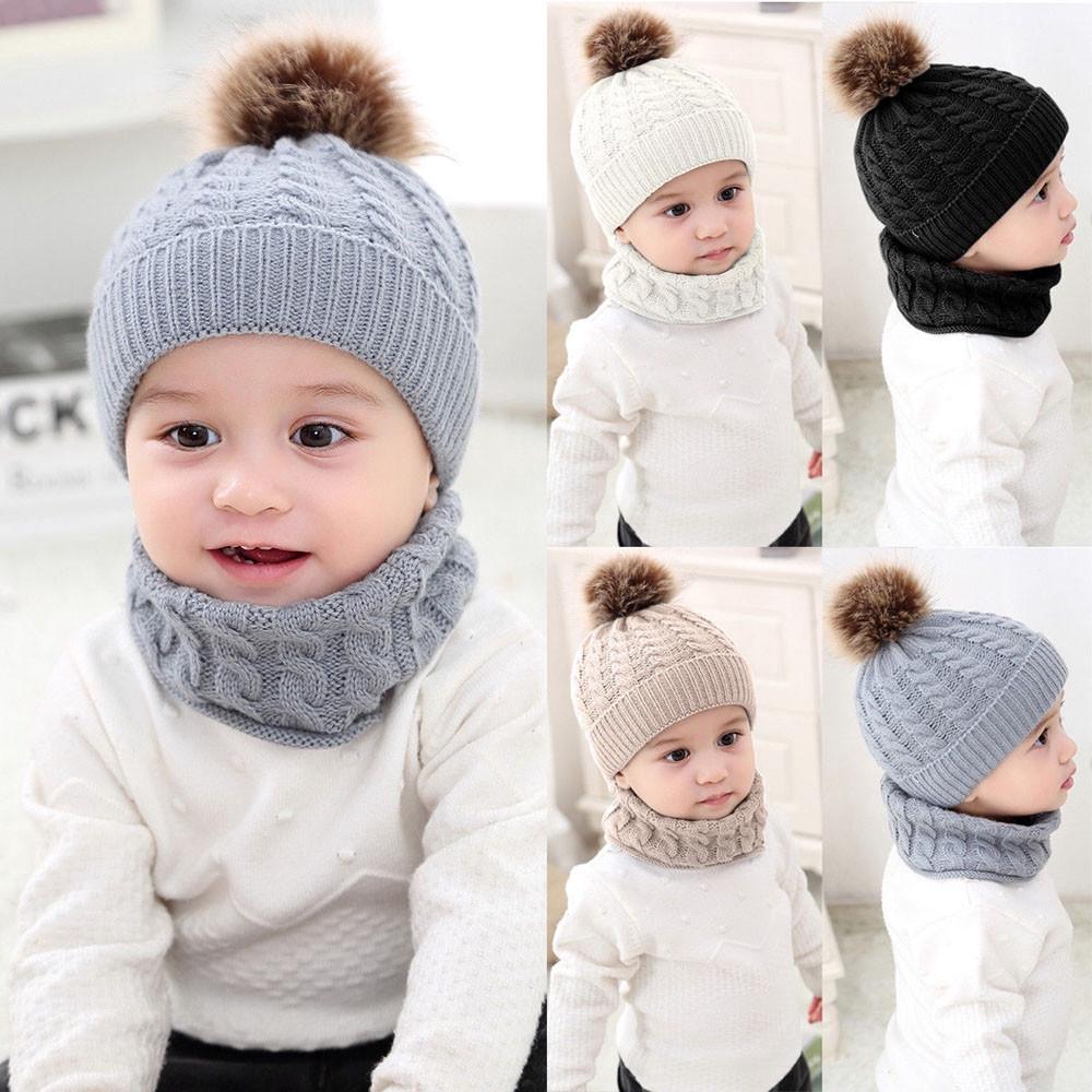 feedc4ddf Kids boys girls knitted beanies and scarf set baby winter ski cap ...