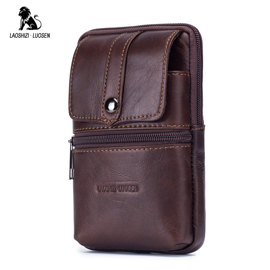 f9612418cec Fashion Genuine Leather Men Fanny Waist Bag Cell/Mobile Phone Coin Purse  Pocket Belt Bum Pouch Military Pack