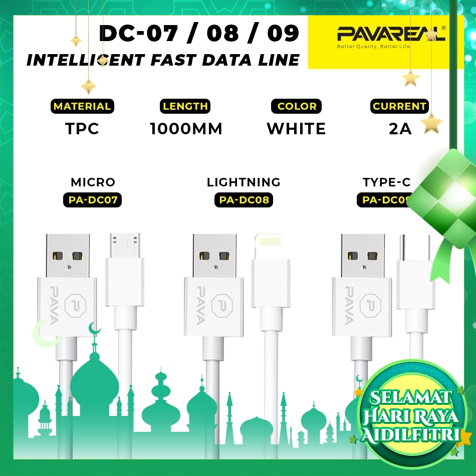 PAVAREAL PA-DC07/08/09 Aluminum Alloy QC3.0 Fast Charge Cable Micro/Type C/Lightning Cable VOOC Vivo Oppo iOS (1 Meter)