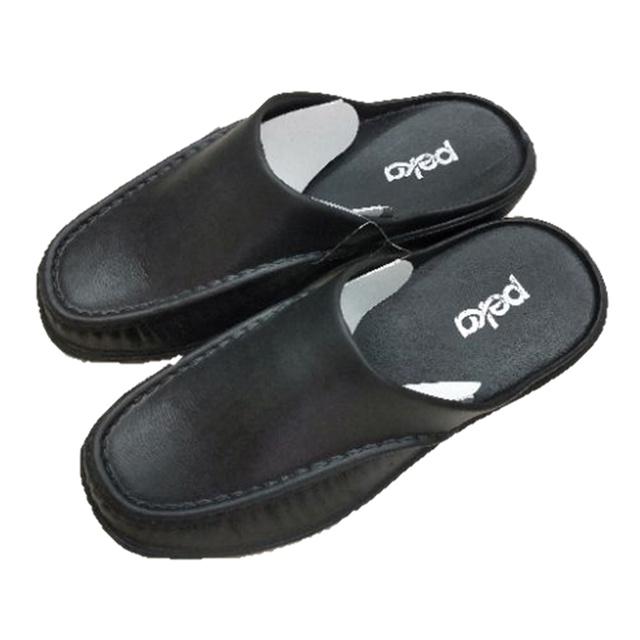 รองเท้าสไตล์หนังโดนน้ำได้ Peka 0634-A รองเท้าสวมเปิดท้าย ปิดหน้า สไตล์รองเท้าหนัง สีดำ size