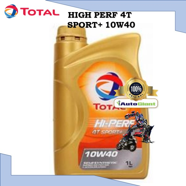 TOTAL HI PERF 4T SPORT+ 10W40, 1L - (100% ORIGINAL) MINYAK HITAM SEMI SYN