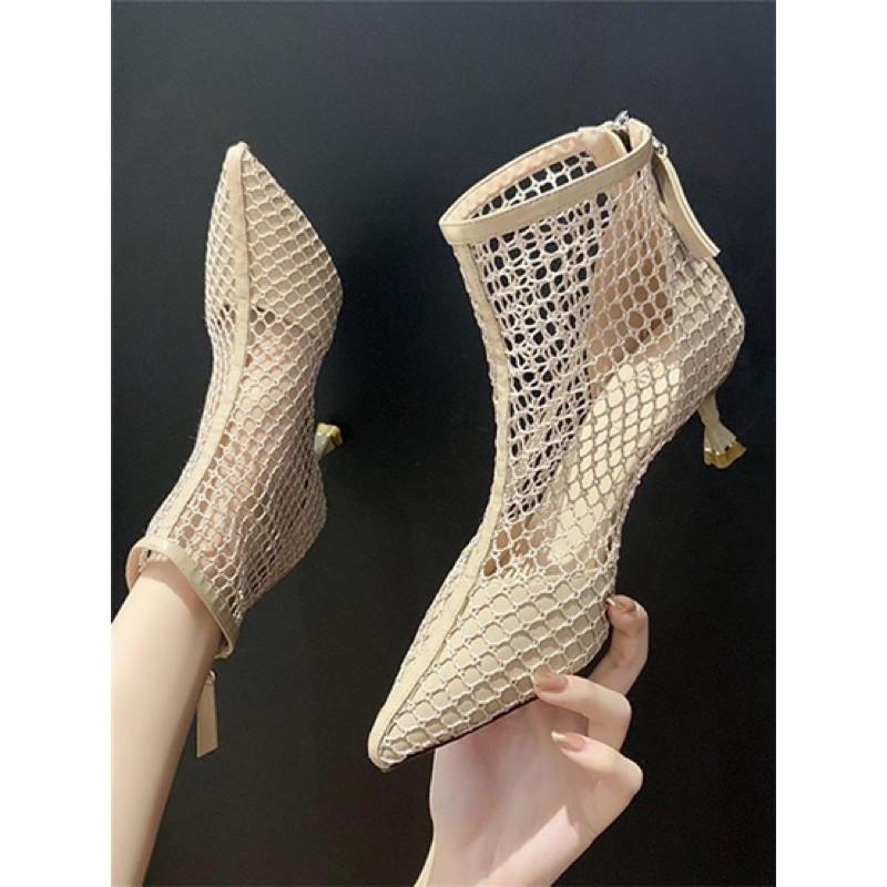 【35-39】Women's shoes Martin boots 女鞋夏季新款网靴马丁靴镂空尖头高跟鞋网纱透气细跟短靴凉靴
