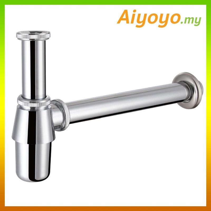 Bottle Trap Basin Bathroom Sink Overflow Bath Bathtub Toilet Solid Brass Chrome STAINLESS STEEL Water Tap Faucet Mixer L