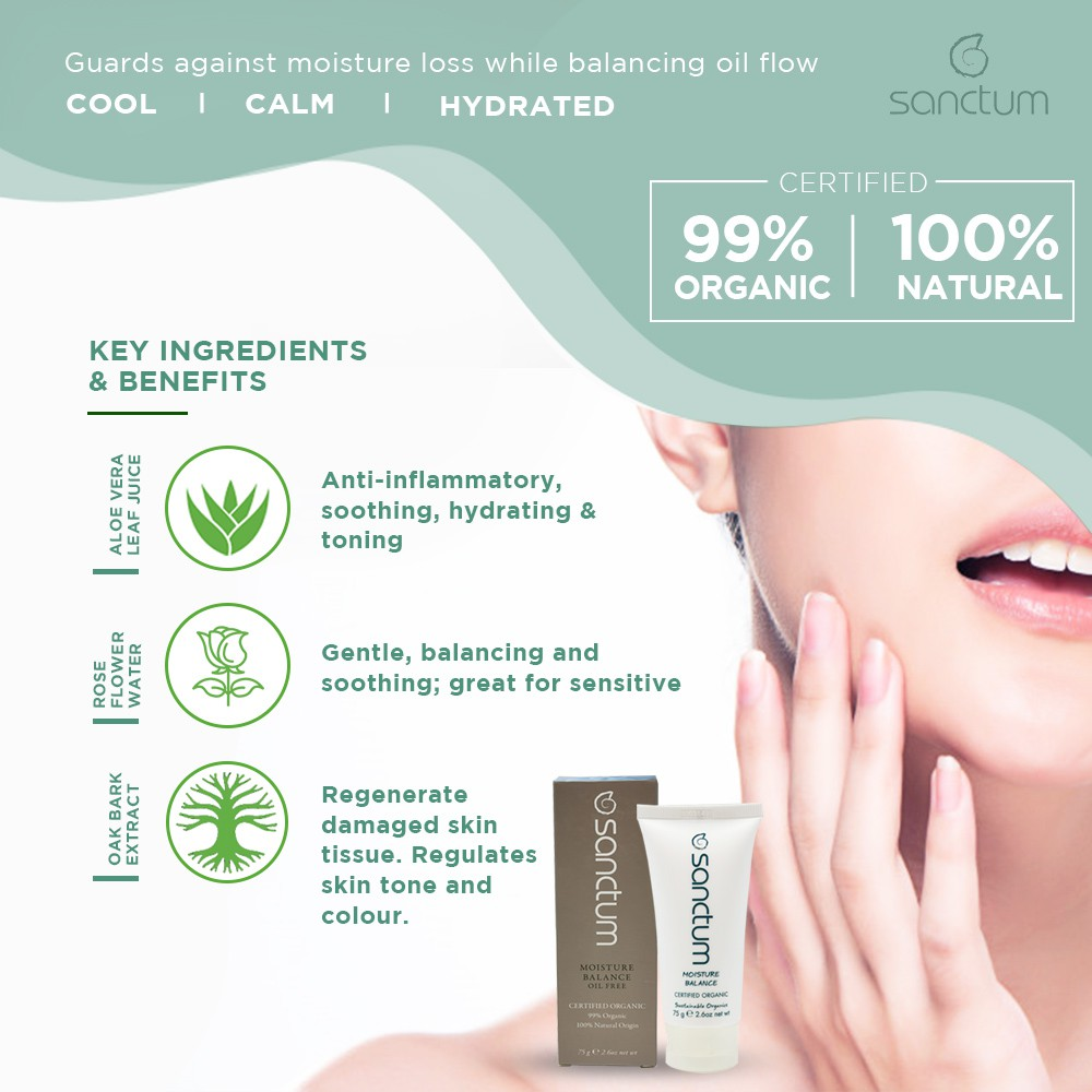 Sanctum Organic Oil-Free Moisture Balance Lotion 75g For Acne Prone Skin | Fight the Signs of Ageing
