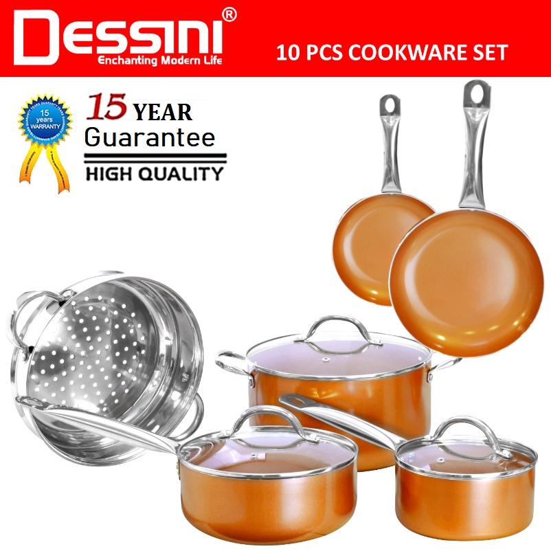 【ORIGINAL】DESSINI ITALY 10 Pcs Aluminium Non Stick Induction Copper Casserole Pot Bowl Deep Fry Pan Cookware Tool PERIUK