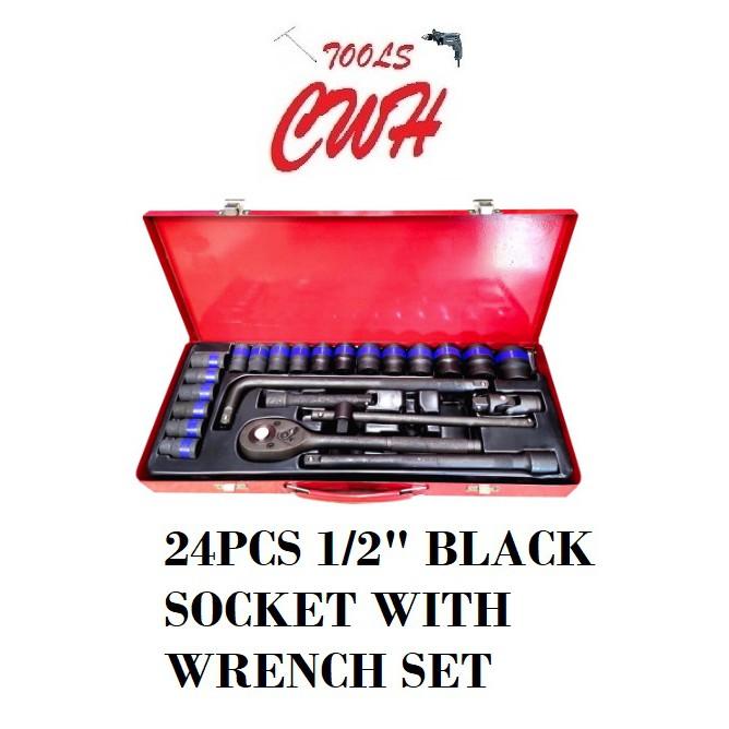 """24PCS 1/2 """" Black Socket L Handle Wrench Set SOCKET SET NUT DRIVER OPENER"""