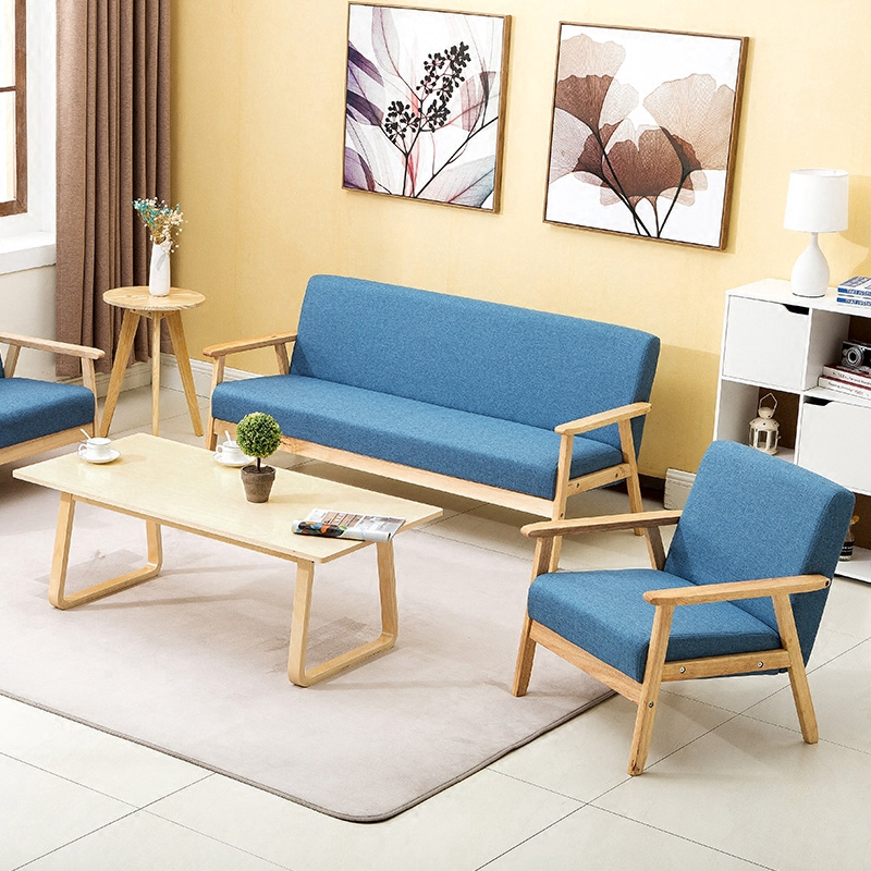Fabric Sofa Chair Solid Wood Simple