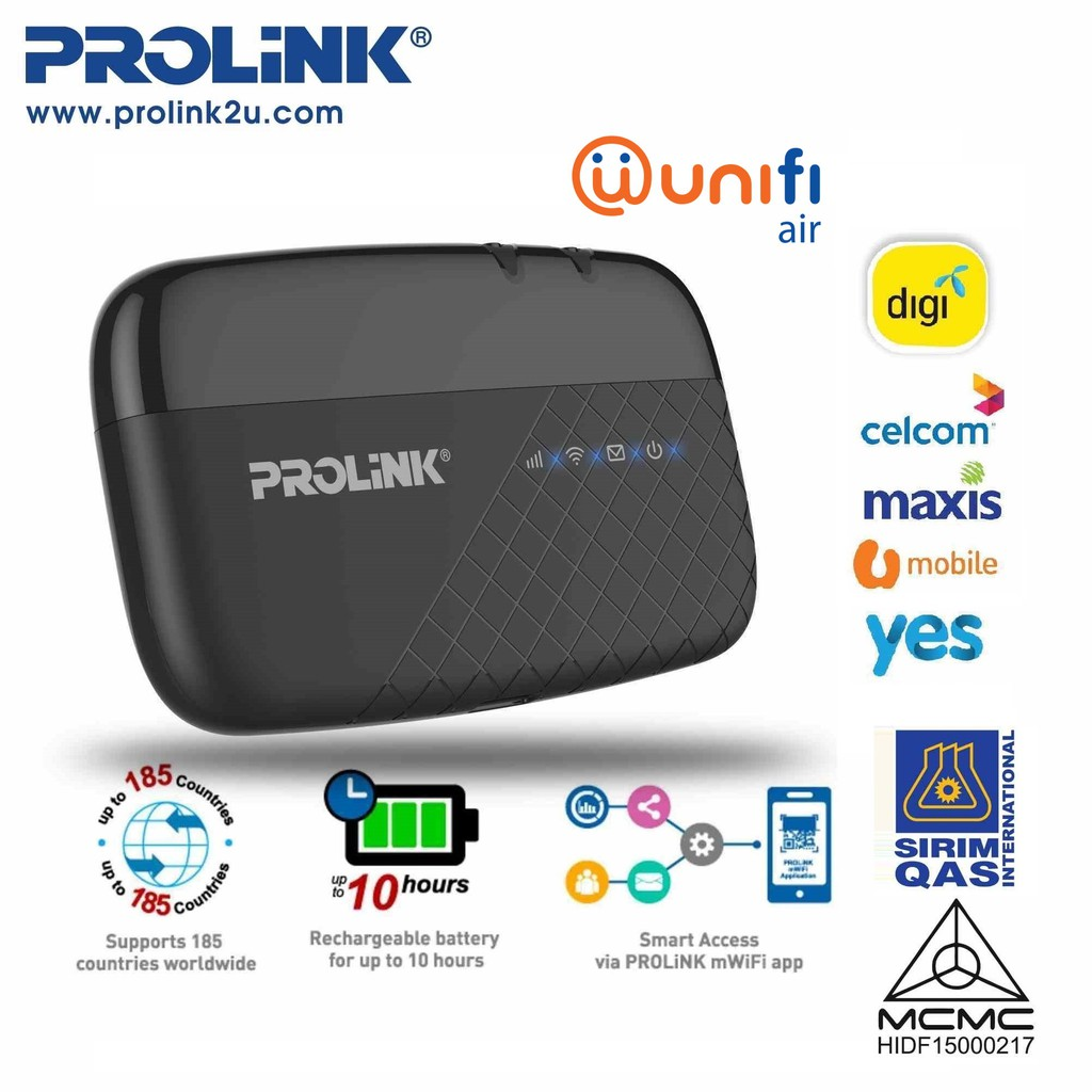 PROLiNK Portable 4G LTE WiFi Hotspot MiFi Support TM Unifi Air PRT7011L