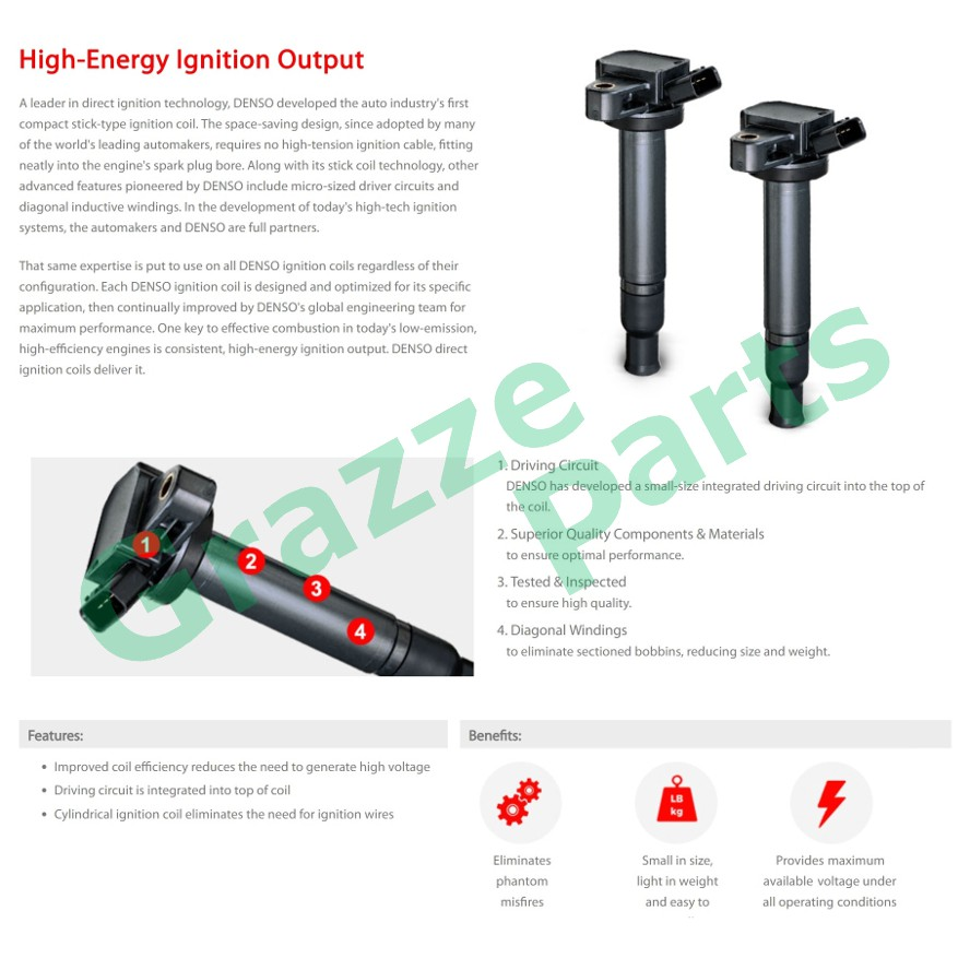 Denso Ignition Coil 099700-2500 for Toyota Altis ZRE142 ZRE143 ZRE172 Wish ZGE20 Harrier ZSU60 Lexus CT200