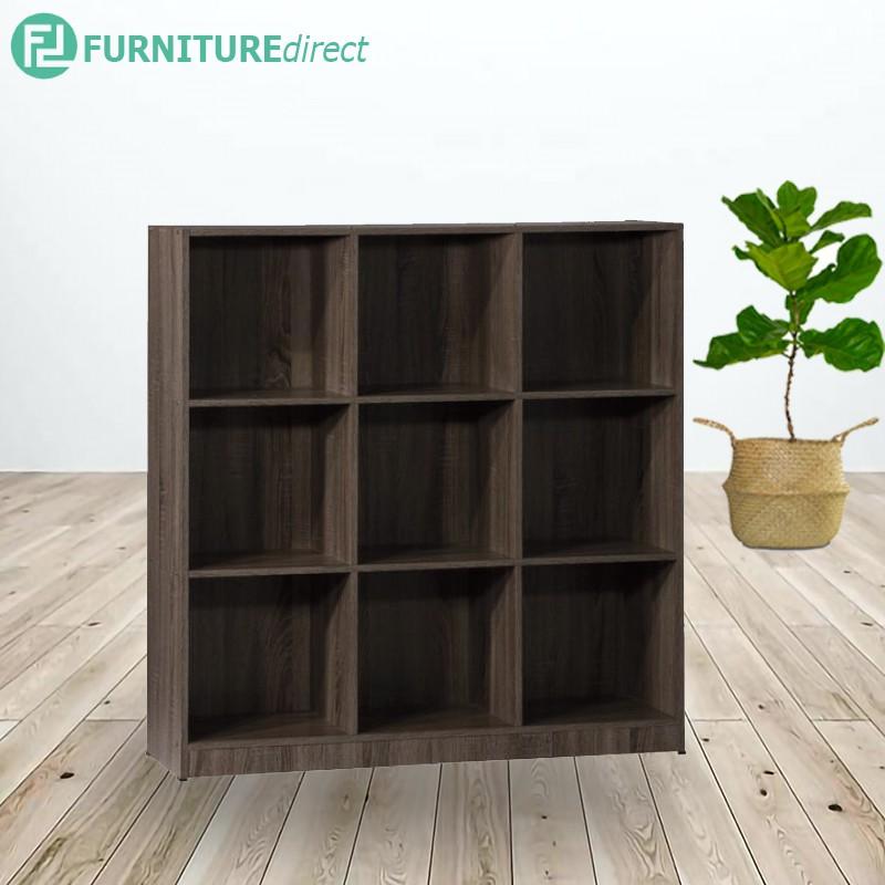 ECO 9 cubes filling cabinet/ bookcase/ rak buku/ book self/ filling cabinet office furniture-Dar Oak