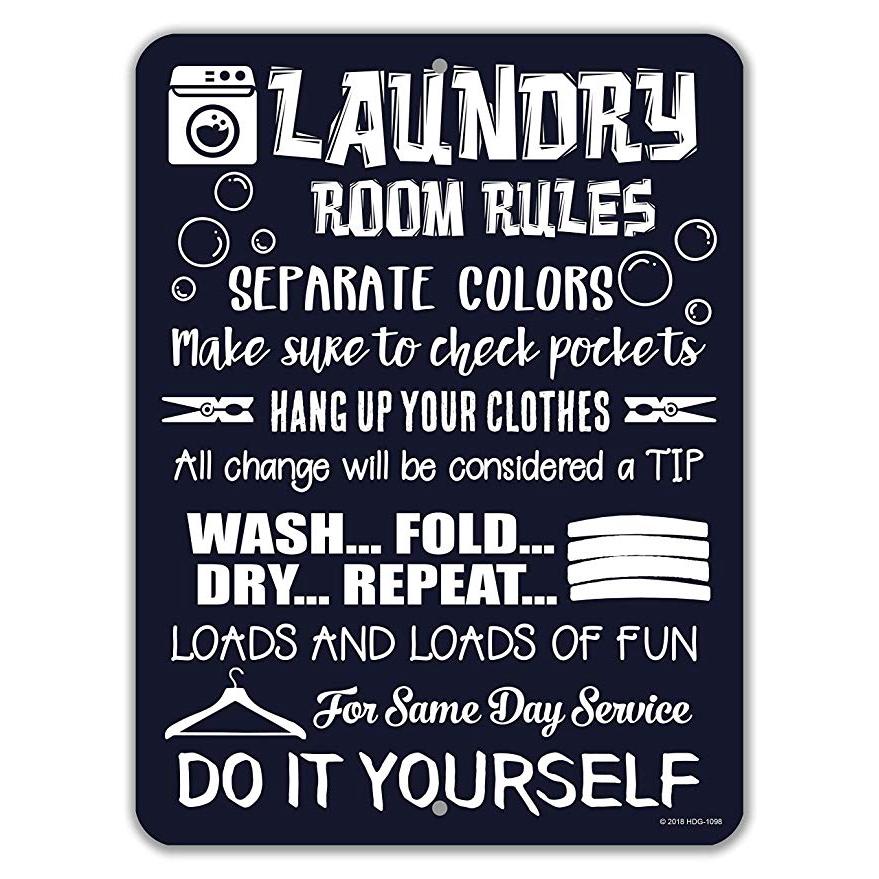 Laundry Room Decor Laundry Room Rules Novelty Metal Tin Funny Laundry Signs Shopee Malaysia