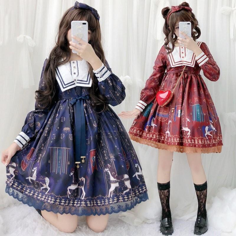 bb14dd43bec0a Japanese Women Girl Lolita Carousel Slim Dress Cosplay Anime Long Sleeve  Dresses