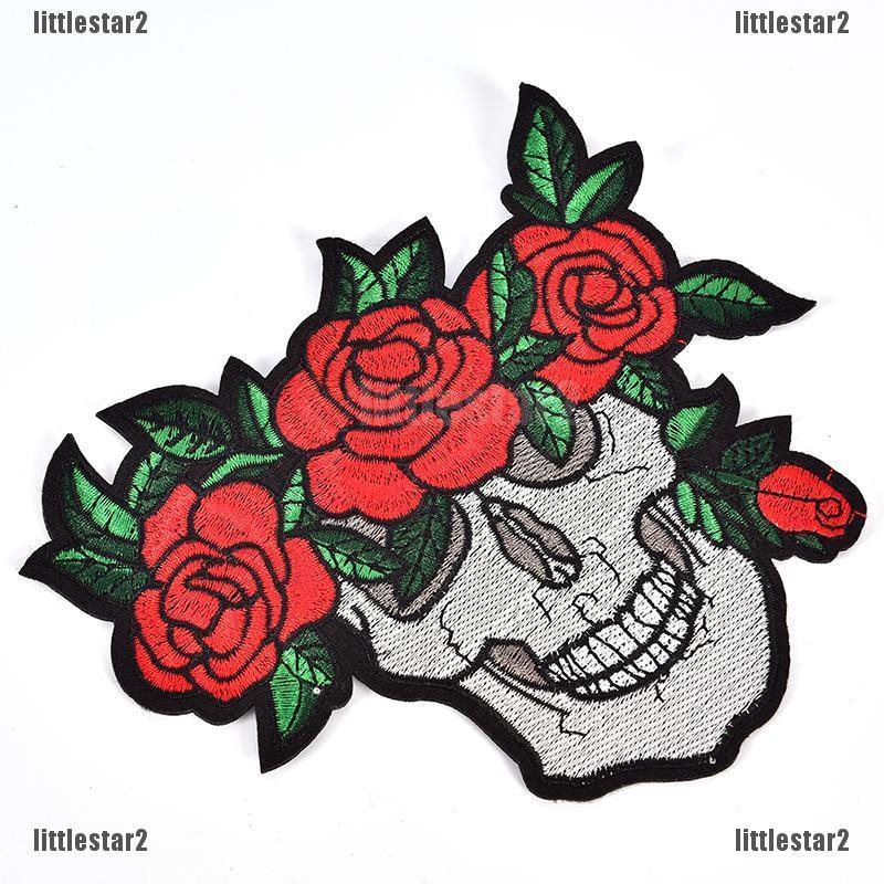 Punk Skull Clothings Patches Rose Red Badges Embroidery Iron-On Biker FO