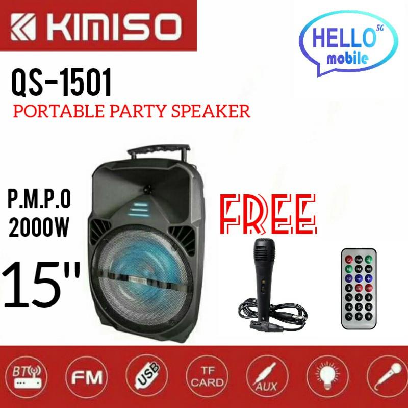 KIMISO QS-1501 15 INCH LED PORTABLE SUPER BASS SPEAKER BLUETOOTH/USB/TF/LED LIGHT BS15 SPEAKER