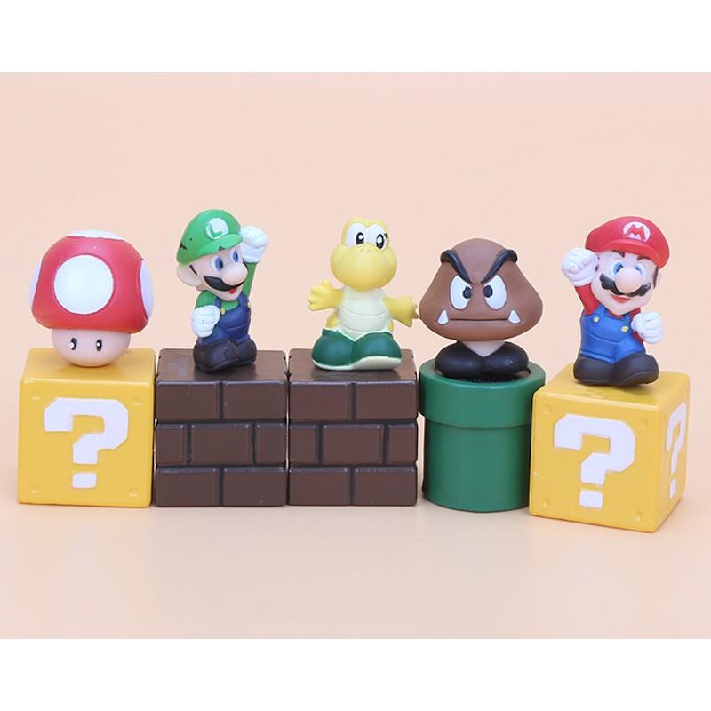 5pcs Super Mario Bros mario figure Luigi mushroom Goomba Toad Yoshi PVC Action