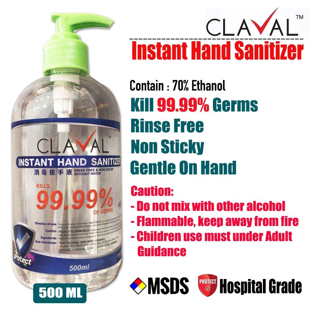Claval Instant Hand Sanitizer - Light Gel (500ml)