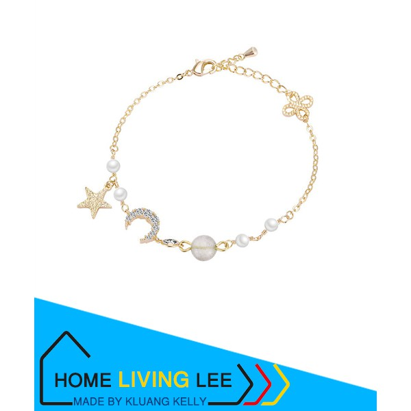 Korean Style Rhinestone Star Charm Bracelets For Women Gold Chain Bracelet
