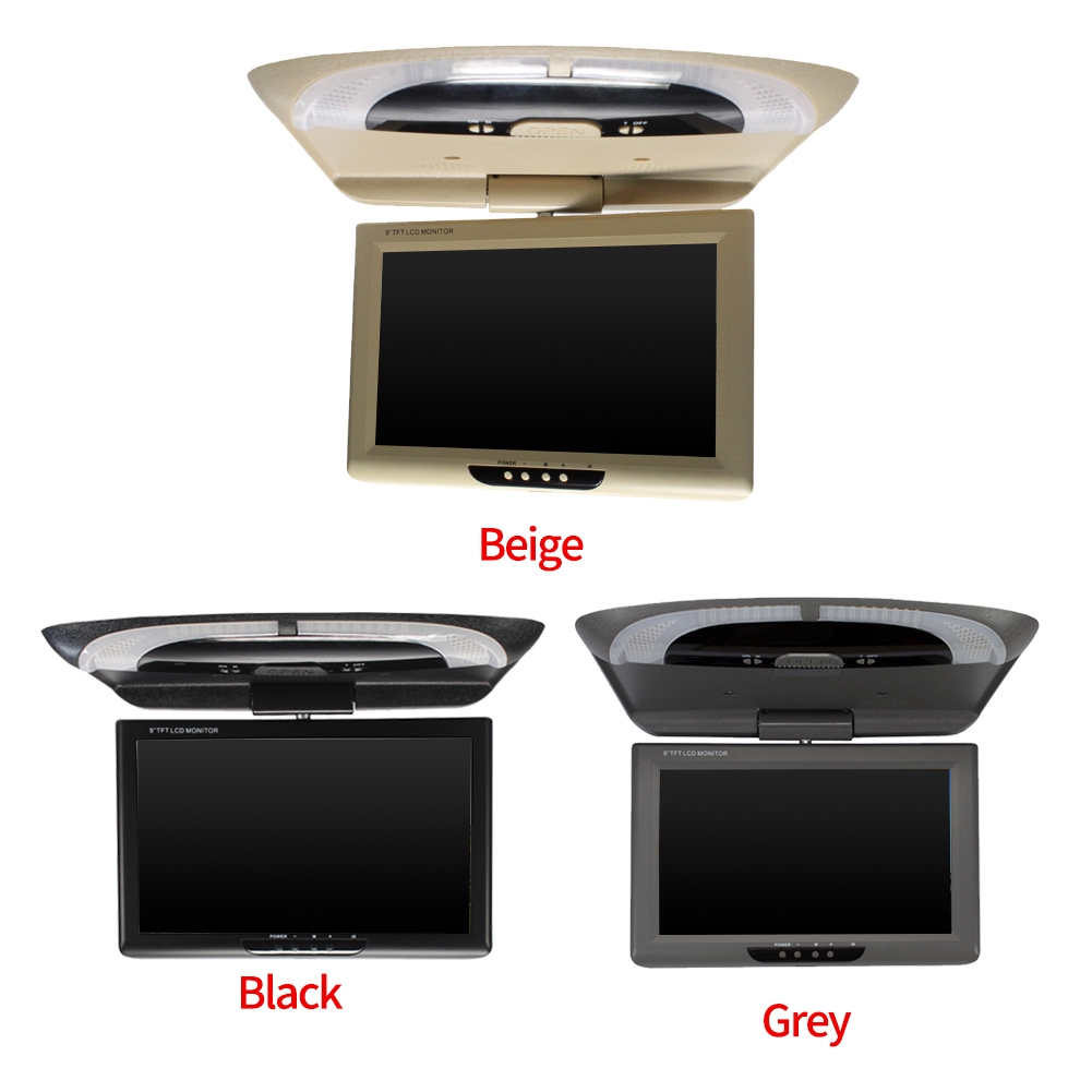 """Grey 9/"""" Roof Mount LCD Color Monitor Flip Down Screen Ceiling Roof mount Display"""