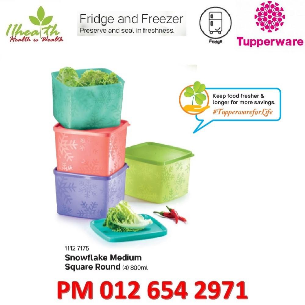 Tupperware Snowflake Medium Square Round 800ml Fridge & Freezer
