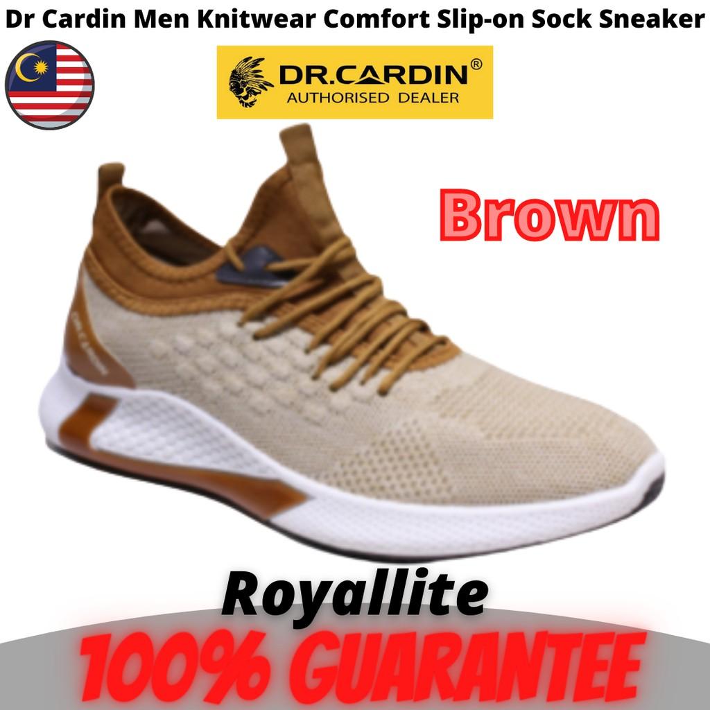 Dr Cardin Men Knitwear Comfort Slip-on Sock Sneaker (F-SA-7) Brown & Black