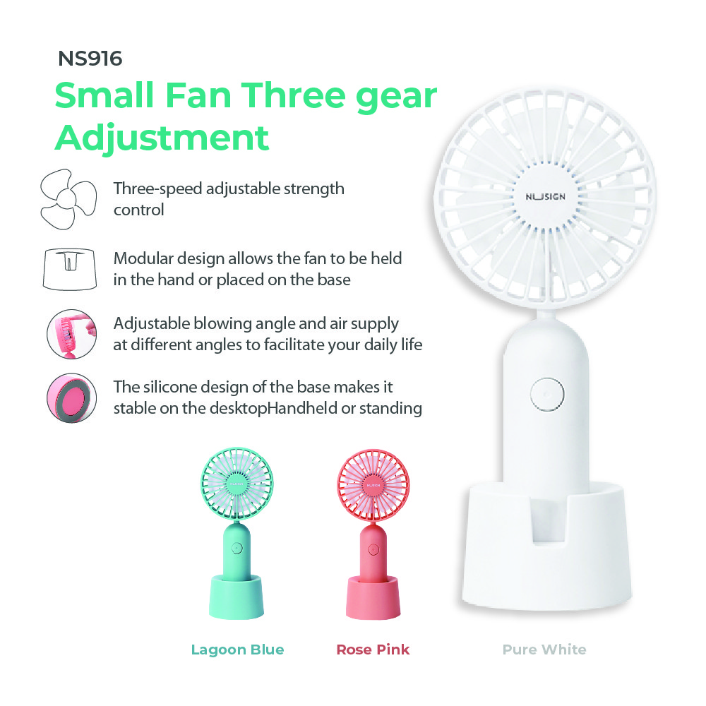 Jadi Nusign 3-Speed USB Rechargeable Table Fan in Rose Pink