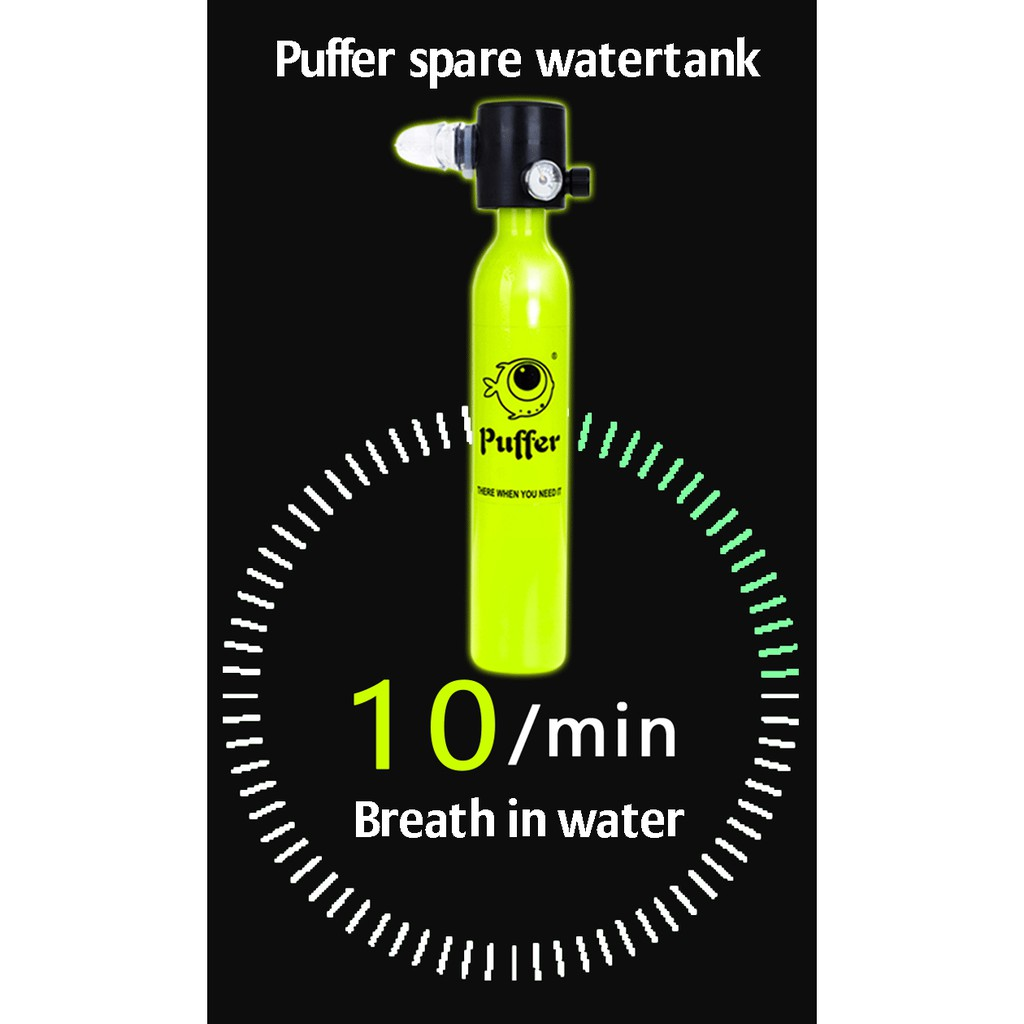Portable mini SCUBA gas snorkeling tank can refill with hand pump