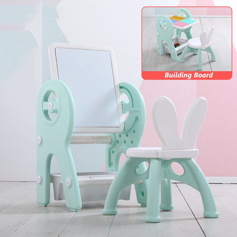 GDeal Children 2 in 1 Thickened Drawing Board And Building Blocks Table With Chair Hand And Mind Coordinate Training