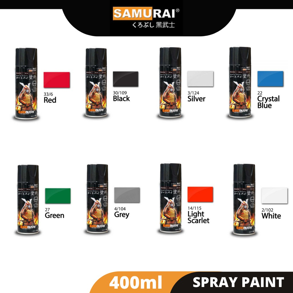 Samurai Paint Yamaha Motorcycle Colour 400ML ( Black, Red, Yellow, White, Gold, Grey, Silver, Clear, Green, Blue, Pink)