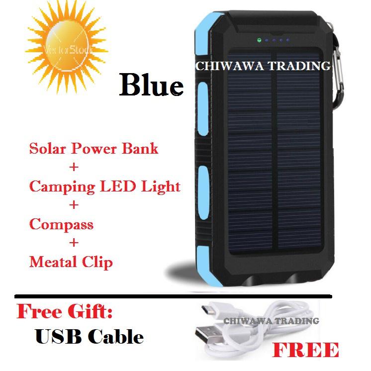 TX18【Free: USB Cable】30000mAh Solar Power Bank + LED Light + Compass + Metal Clip