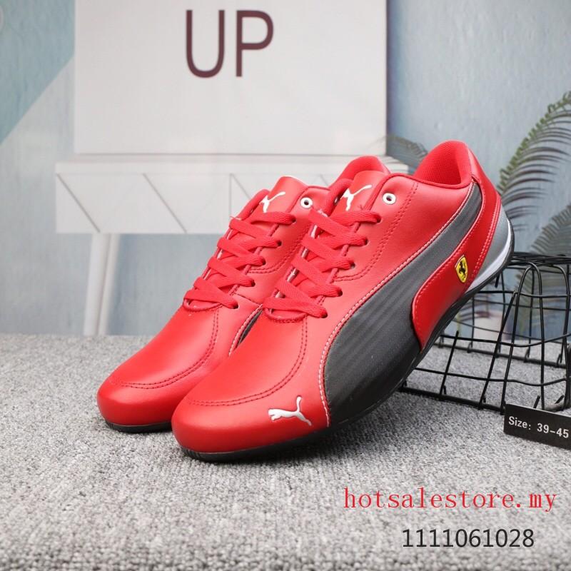 Hotsale Puma Ferrari Racing Shoes Men S Driving Shoes Leather Sneaker Red Black Shopee Malaysia