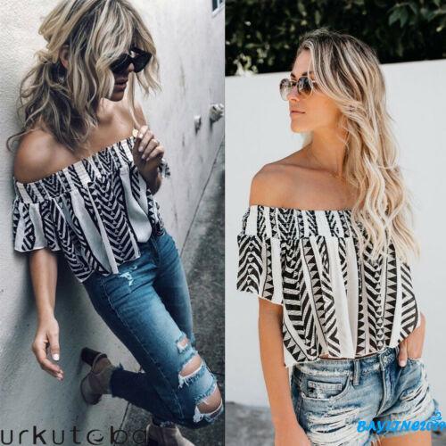☀UniWomen´s Summer Off Shoulder Short Sleeve Casual Blouse Loose Crop Tops