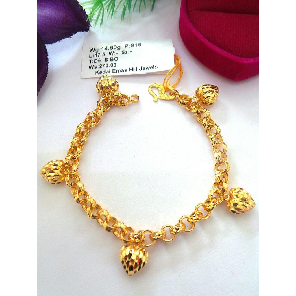 75c41068e BS Ent. Hh jewel bracelet au 916/22k 23.83g   Shopee Malaysia