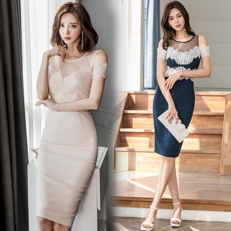 Korean Mesh Patchwork Lace Dress 2019 Office Lady Off Shoulder Sleeveless Pencil Dress Summer Midi Dress