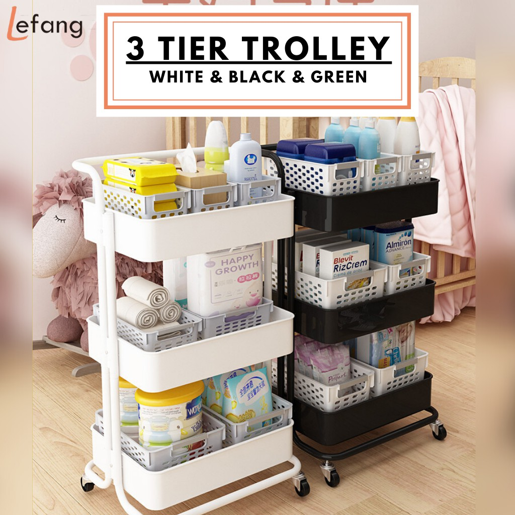 LeFang 3 Tier Trolley Storage Racks Office Shelves Book