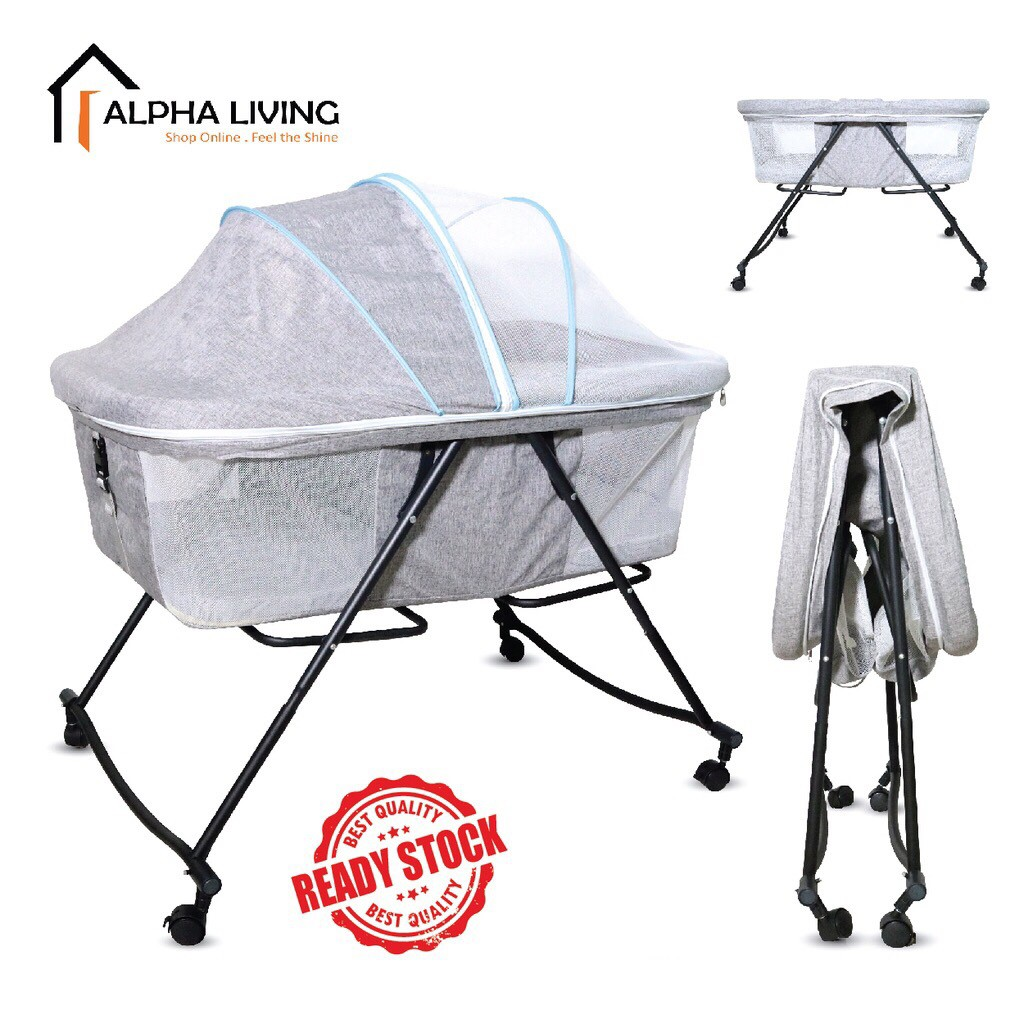 Multi function & portable playpen for infant baby folding cradle and swing ( BAY0017GY)