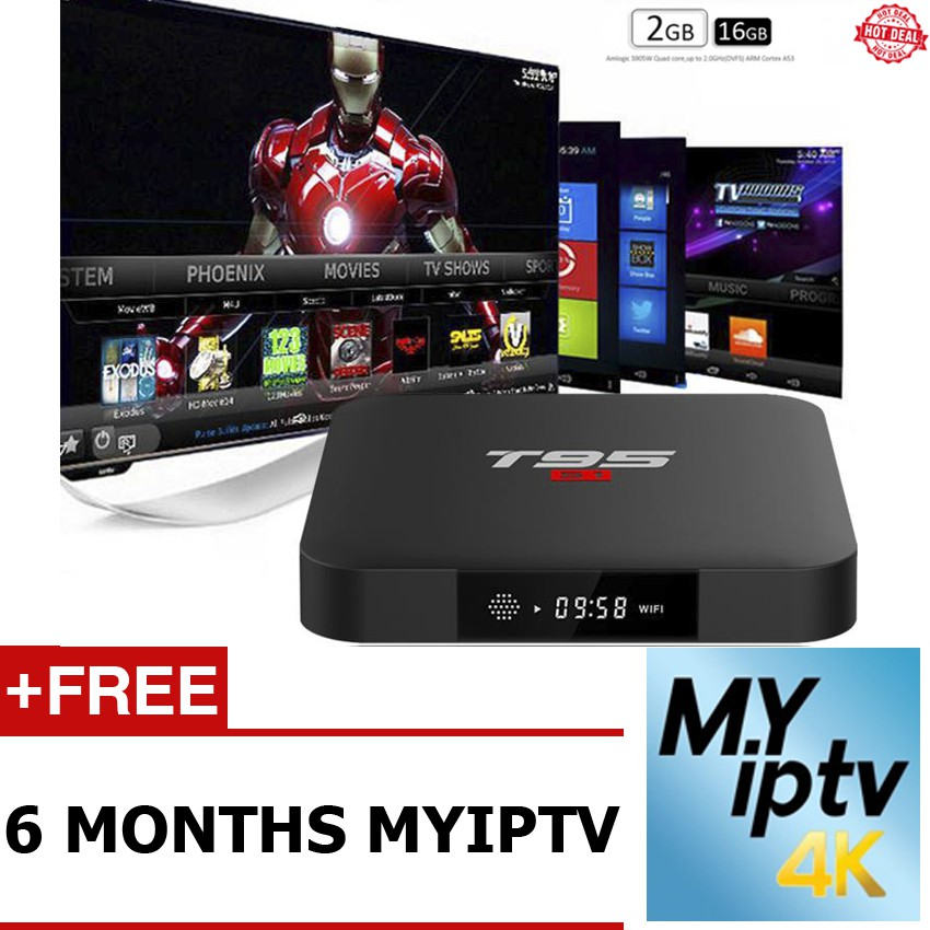 [FREE SHIPPING] T95S1 64Bit 2GB 16GB + 6 Months Myiptv Subscription (1 Year  Warranty)