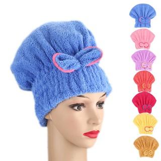 4c0a7791917 Bowknot Hair Turban Quickly Dry Hair Hat Towel Head Wrap Shower Cap for Bath  Spa