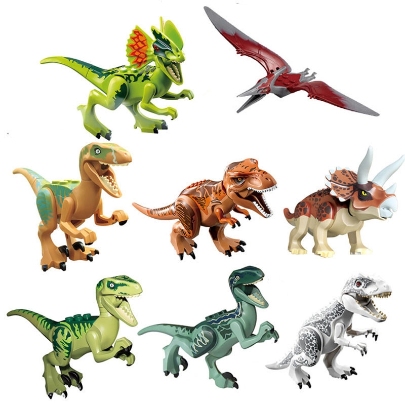 Educational Gift Dinosaur Figures Jurassic Dinosaur Figures Dinosaur Toys Velociraptor Dino Blocks with Movable Jaws,Including T Rex,Triceratops Dinosaur Building Blocks Mini Dinosaur