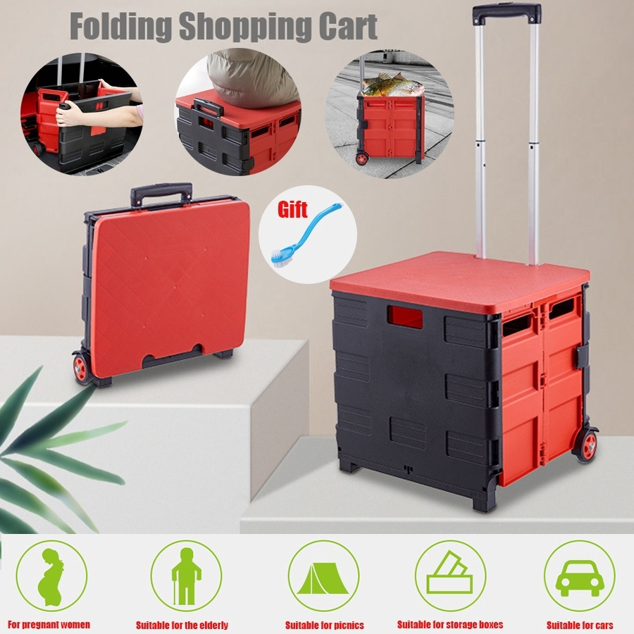 0f57543d31c6 Storage Box Shopping Cart Plastic Trolley Folding Trolley for Picnic Fishing