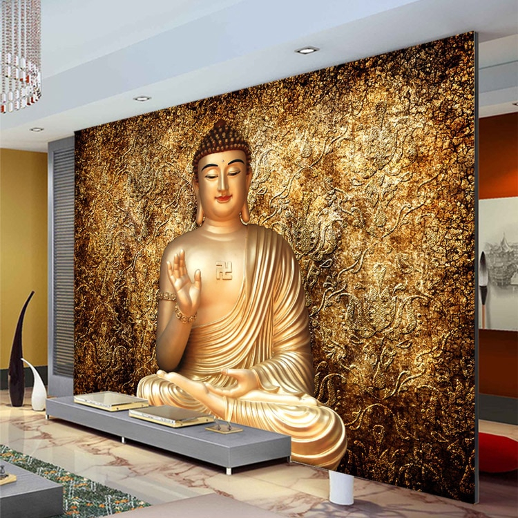 Golden Buddha Photo Wallpaper Buddhist Temple Wall Mural Custom 3d Wallpaper For Walls Designer Bedroom Living Room Restaurant Shopee Malaysia