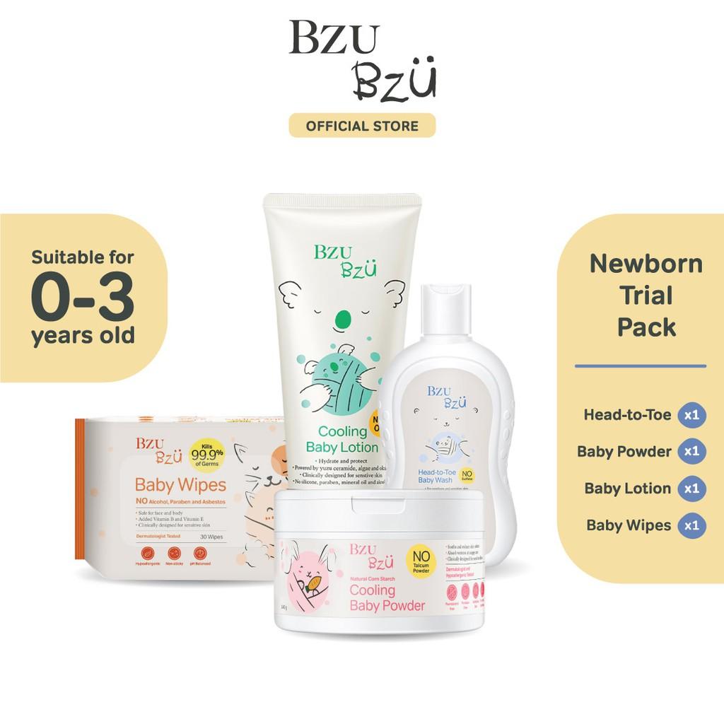 BZU BZU Newborn Trial Pack - Head To Toe Baby Wash (200ml) + Baby Lotion (200ml) + Baby Powder (140g) + Baby Wipes(30 Pcs)