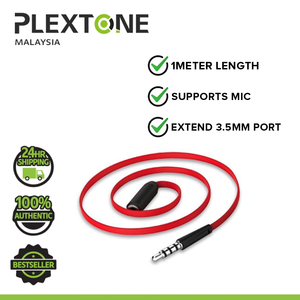 PLEXTONE 3.5mm Extension Audio Cable 4 Poles Male to Female AUX Cable Support Mic Headphone Cable (1m)